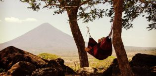 A person relaxes in a hammock