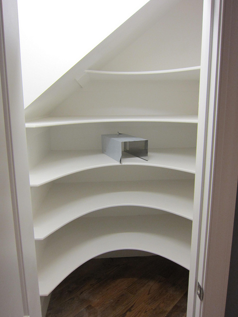 Flickr. Avoid curved shelving as this limits the space you have to play with, making it easier for items to fall