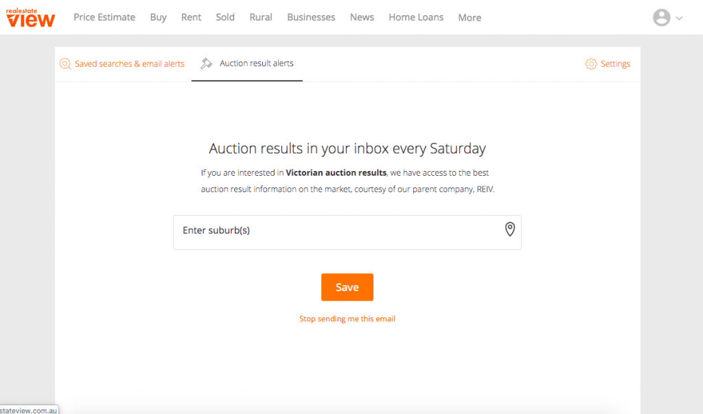 Auctions results sign up to newsletter page