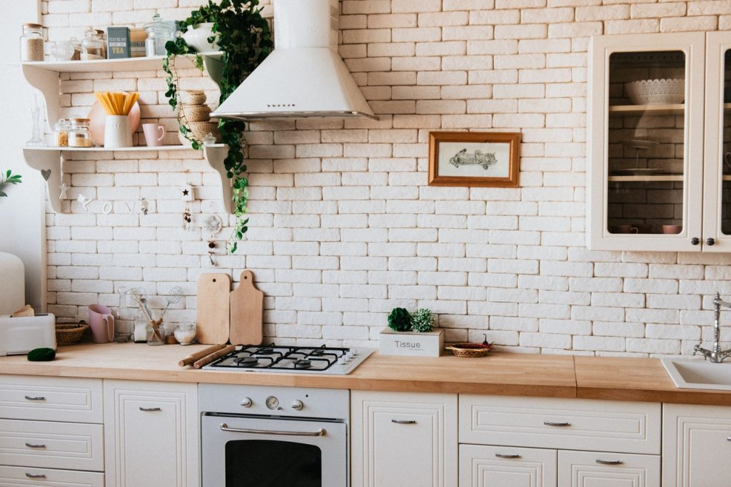 Kitchen with tiled wallpaper