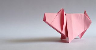 A pink origami pig