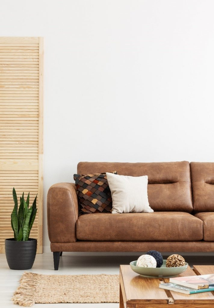 A brown leather couch