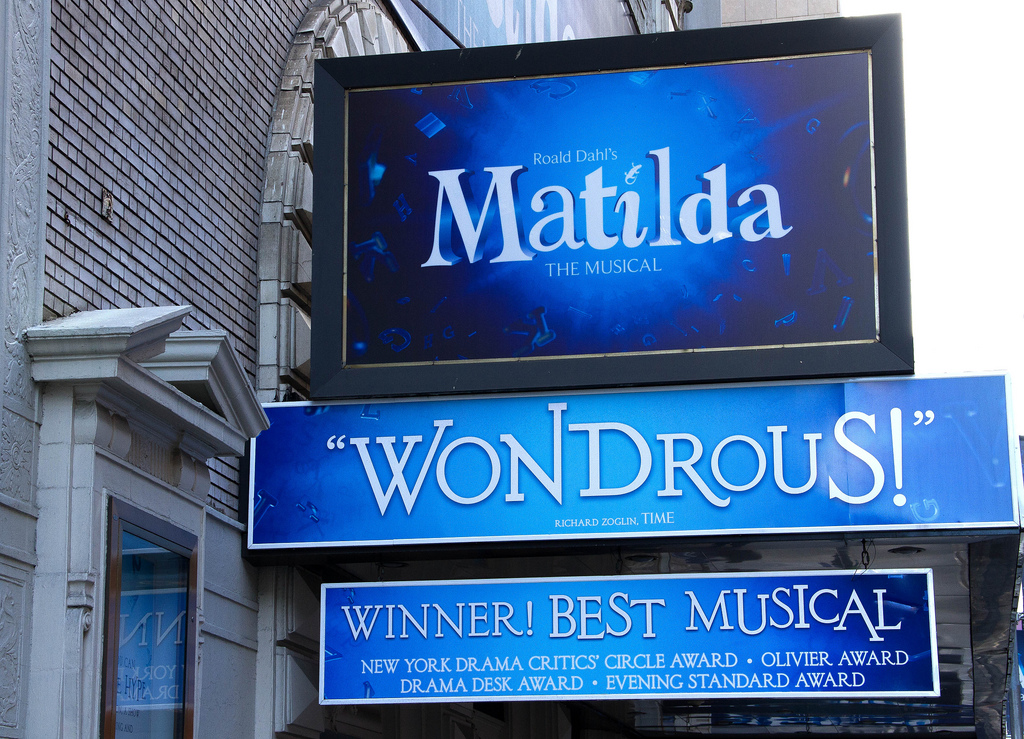 Signage for Matilda the Musical