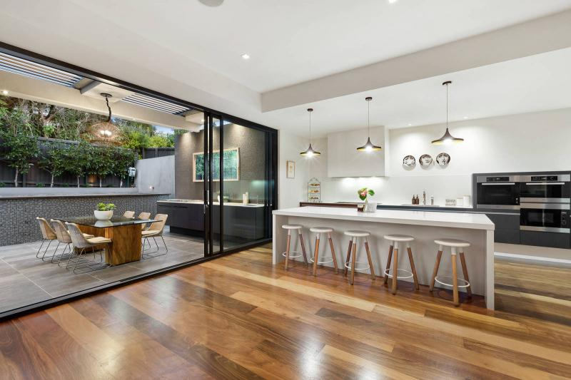 Open-plan kitchen, dining and alfresco area