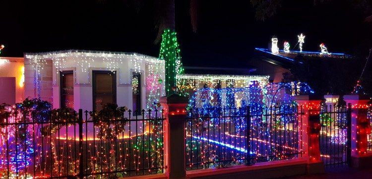 Christmas lights illuminate a home in Adelaide.