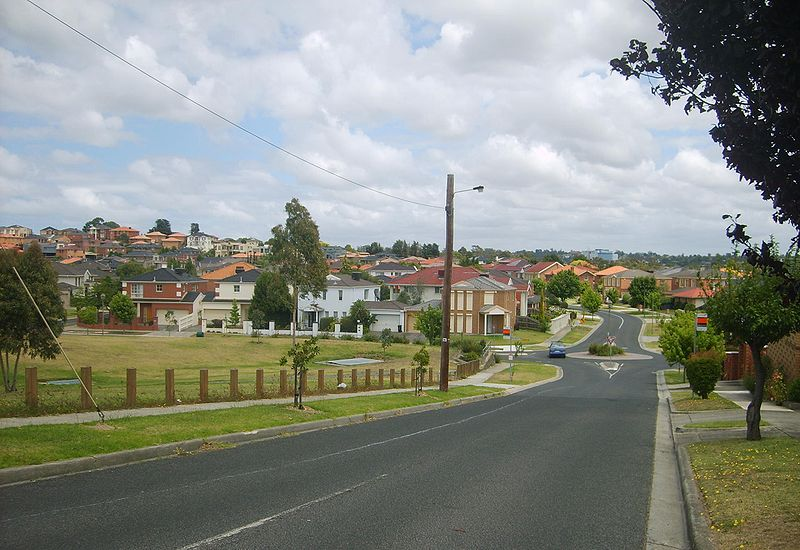 A road in Bulleen, Victoria, that leads to an estate of homes.