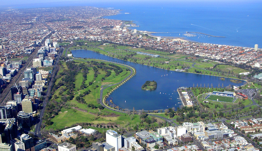 An aerial photo of Albert Park, a great place for nature lovers in Melbourne.