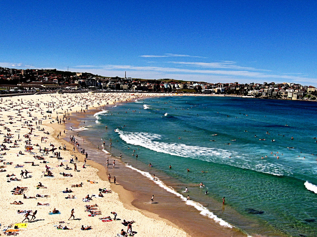 An aerial shot of people relaxing on Bondi Beach in Sydney