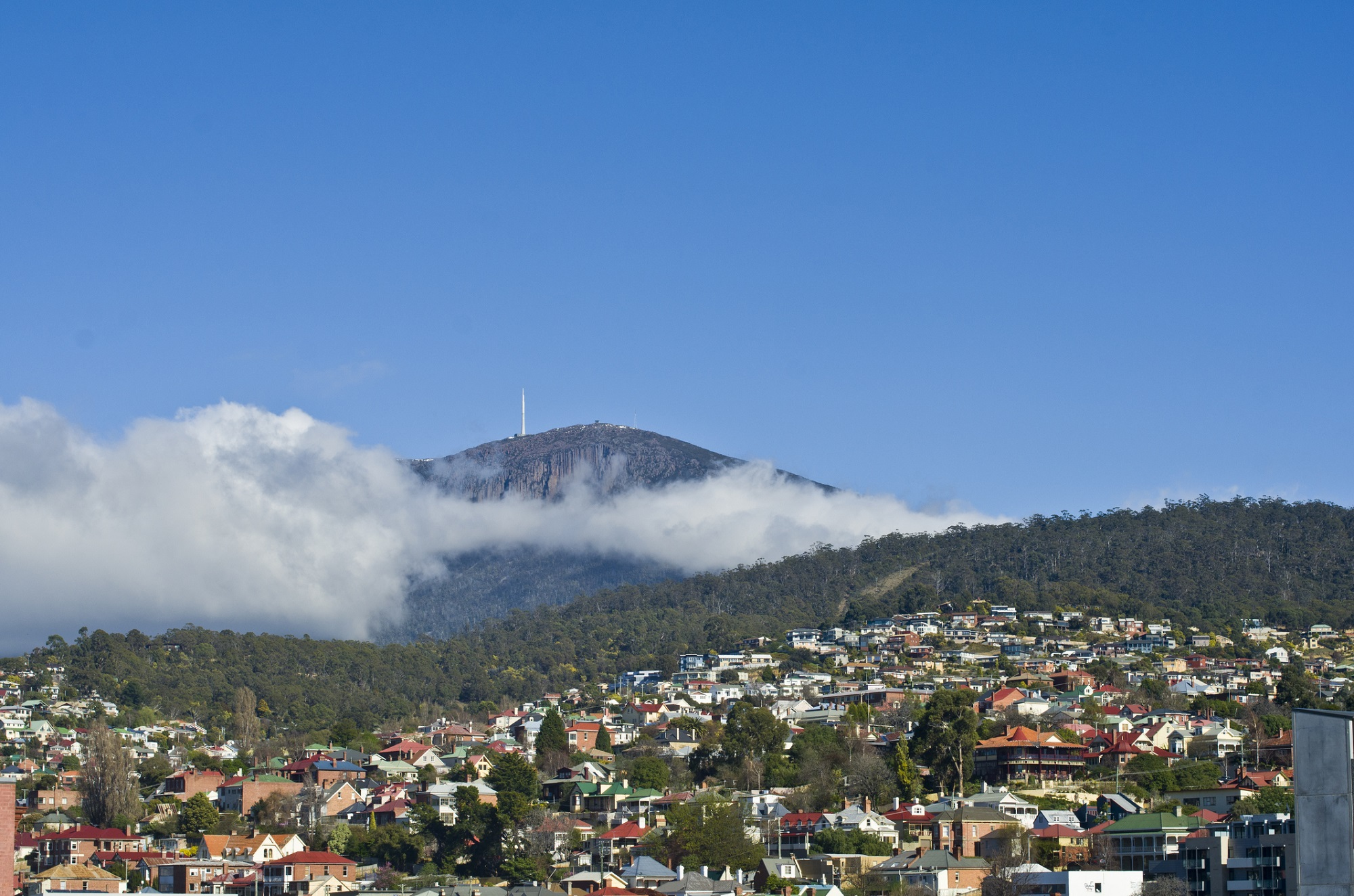 Hobart, looking towards Mount Wellington, Tasmania, Australia