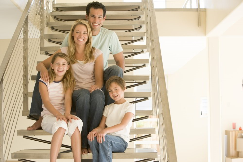 family-on-stairs