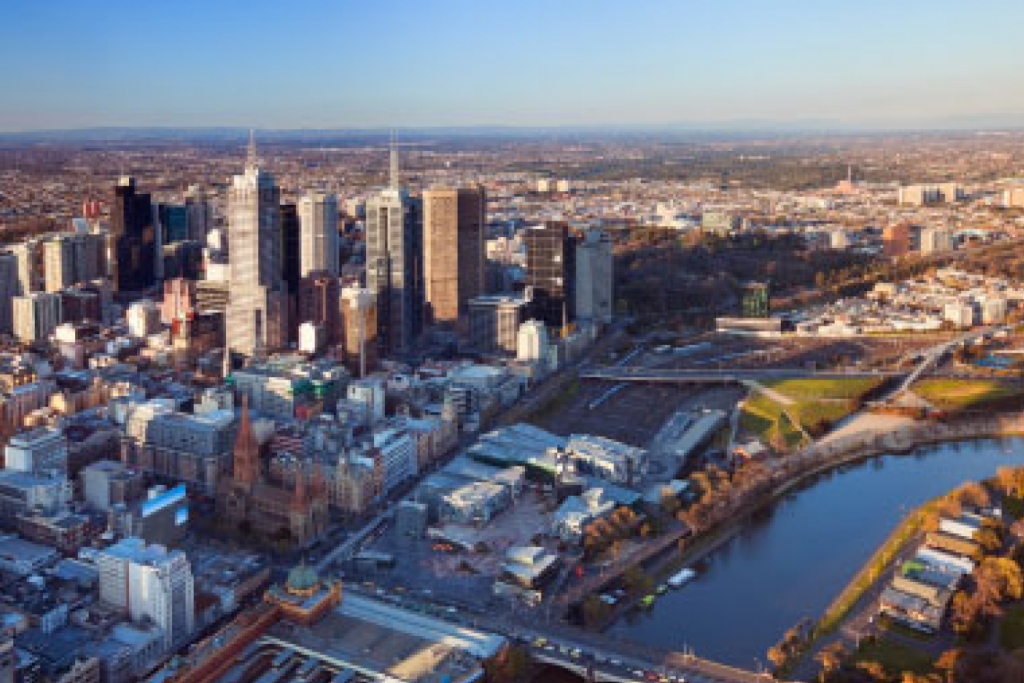 An aerial shot of Melbourne