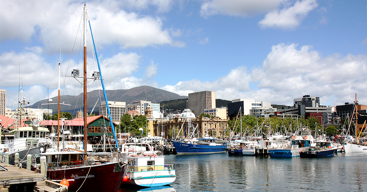 Investing in Tasmania - a view of the harbour in Hobart, Tasmania.