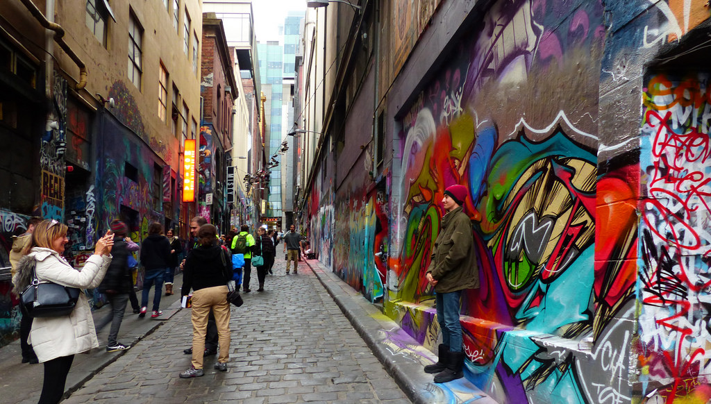 Melbourne Laneway covered in artwork/graffiti
