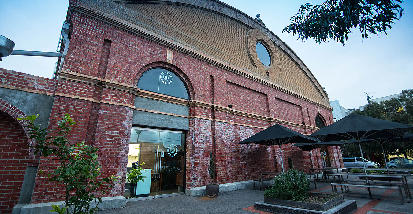 A warehouse-conversion cafe in a large brick building