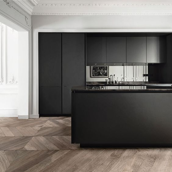 A matte black kitchen