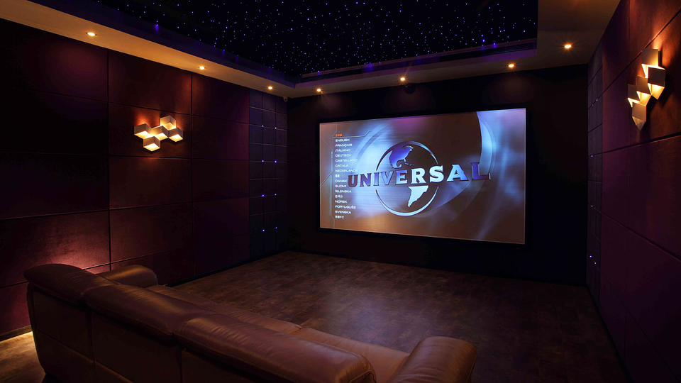 Home theatre room with couch and tv