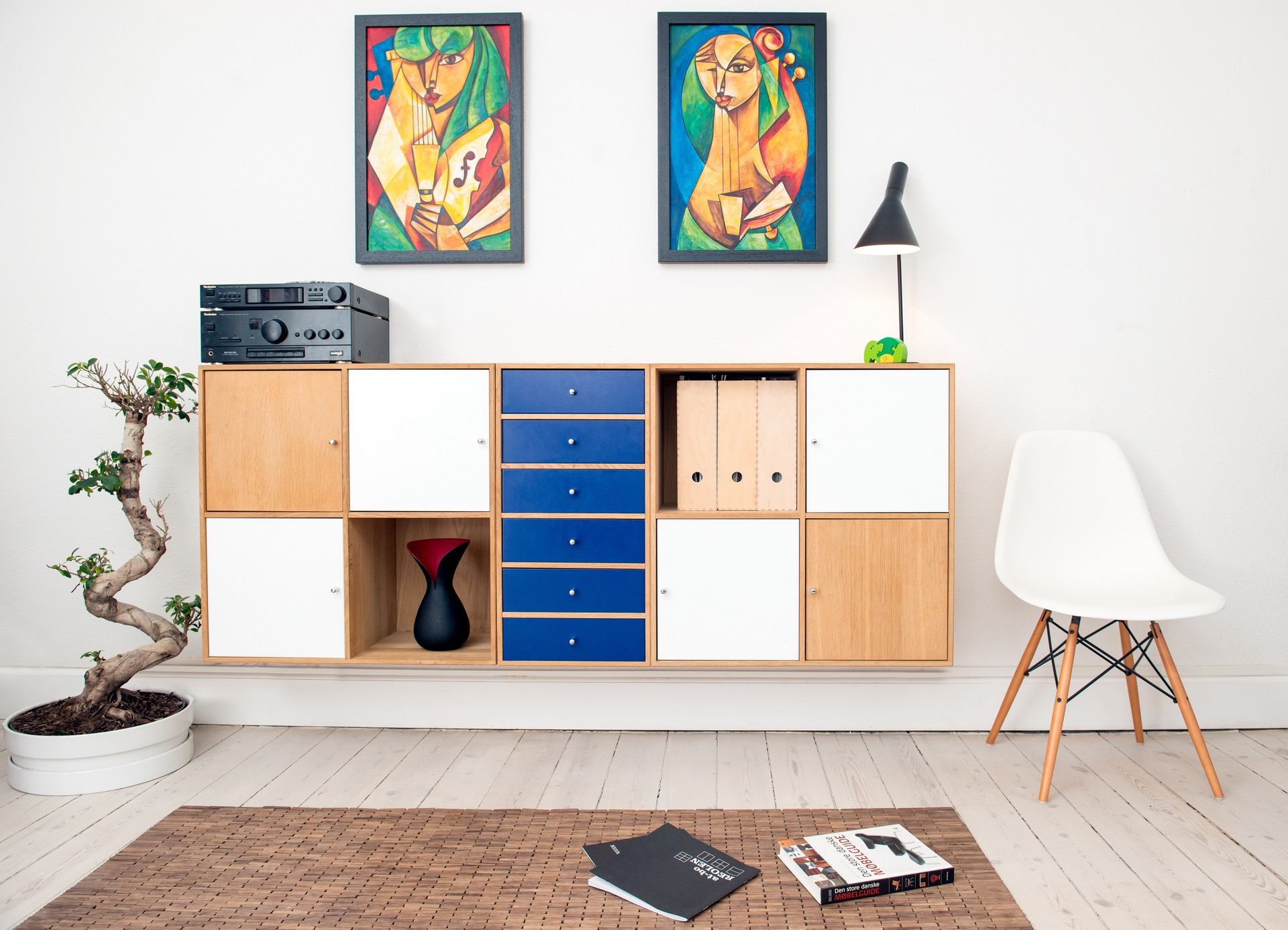 70s-inspired storage unit with wood panels and splashes of electric blue