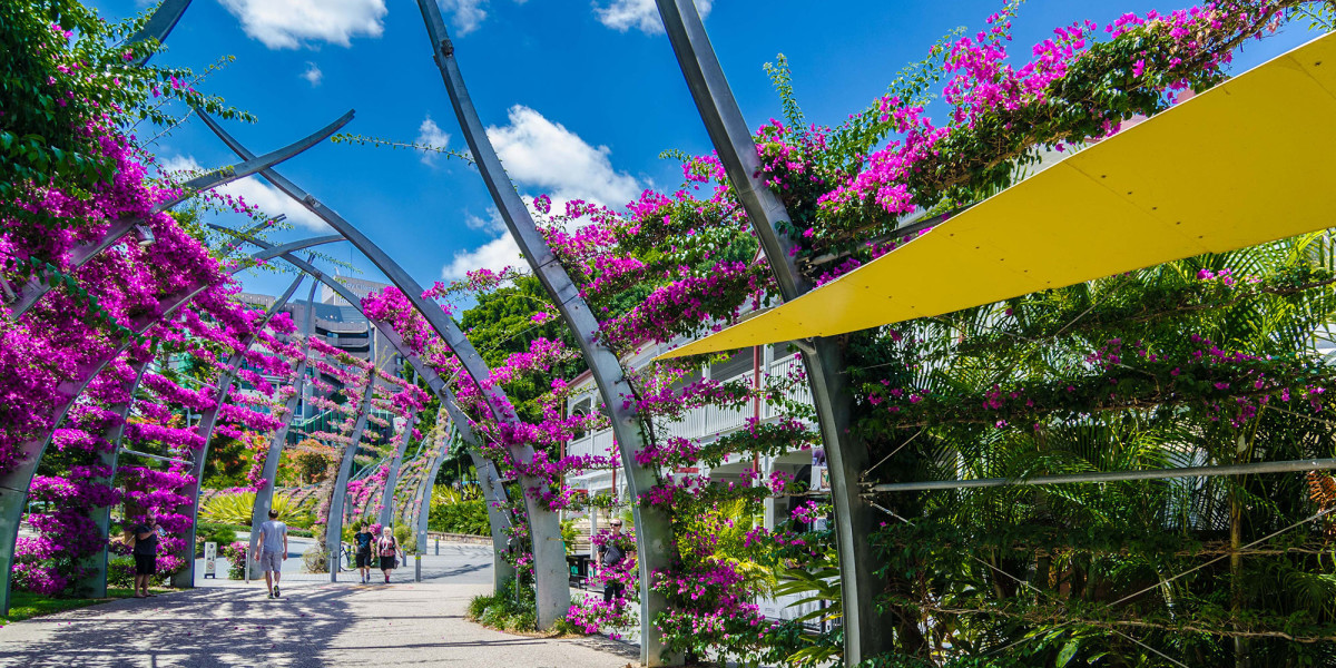 The South Bank Parklands in Brisbane with purple flowers and greenery.