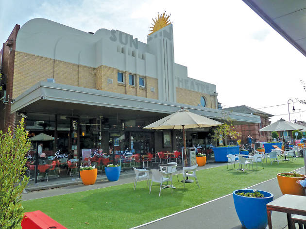 The Sun Theatre in Yarraville with a pop-up park out the front.