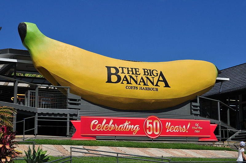 A very big statue of a banana in Coffs Harbour