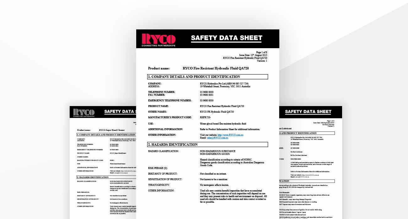 RYCO MSDS Material Safety Datasheets