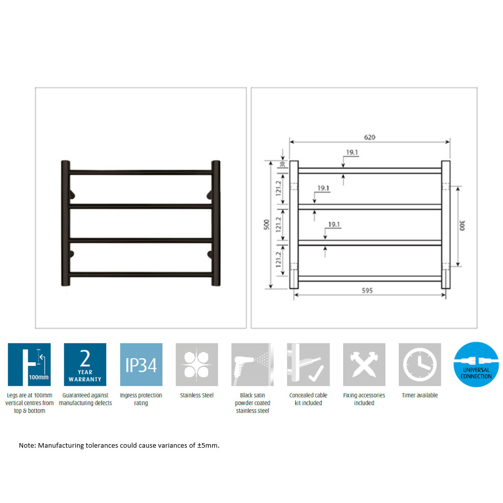 Forme Matt Black Stainless Steel Heated Towel Rail Rack 4 7 Bar Warmer Wiring Diagram