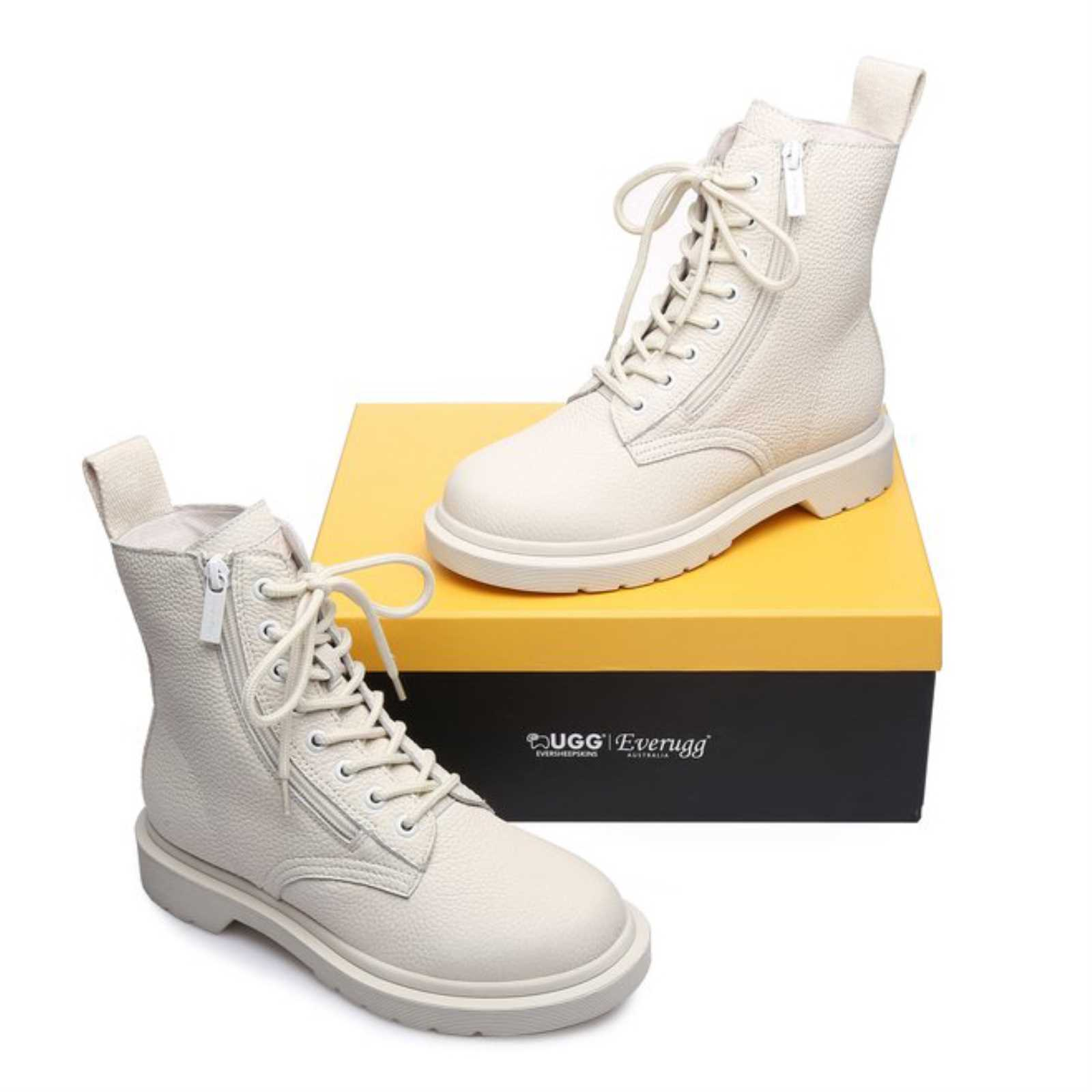 20b102206a2 Details about UGG ever Boots Ladies Luna 11797 Sheepskin Fashion Leather  Lining Front Lace Up