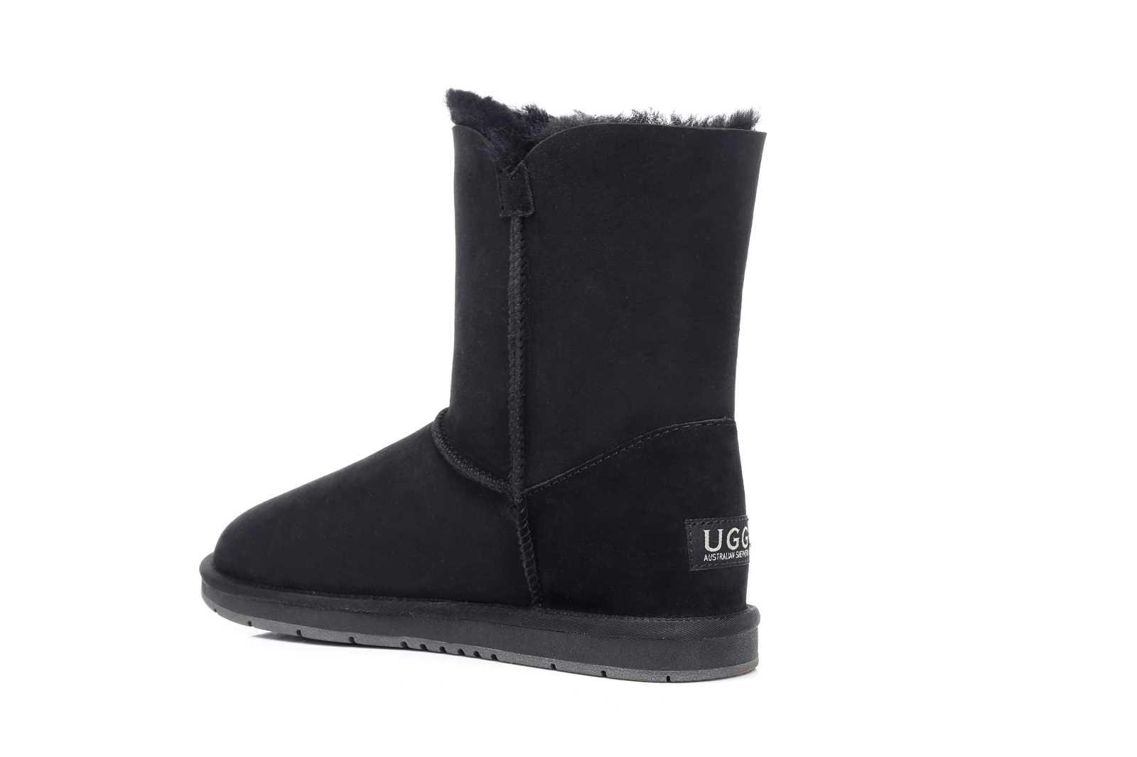 cea236c48e1 100 Australian Sheepskin UGG BOOTS Short Button AU Ladies 5 / Men 3 Black