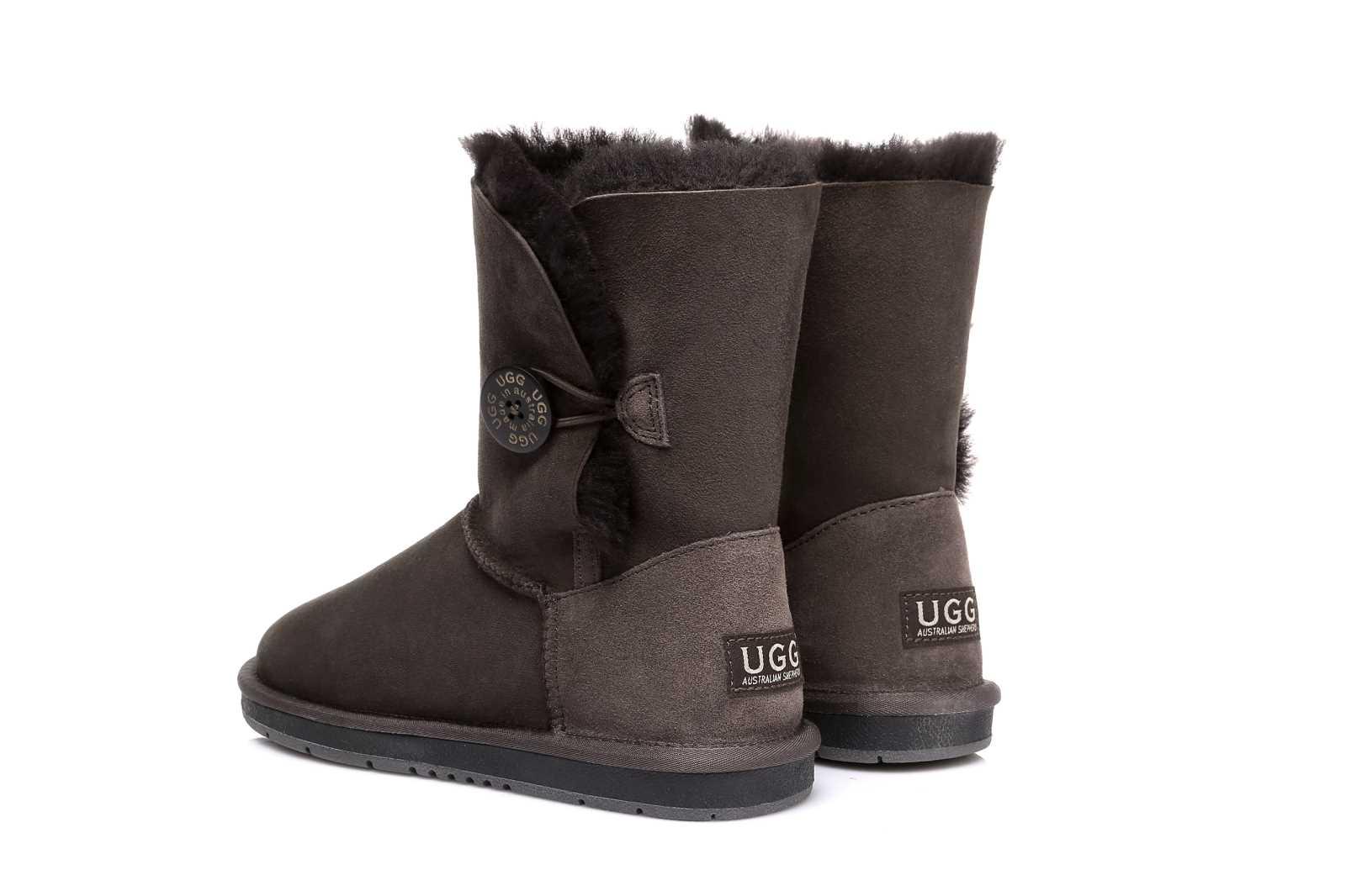 1101b12095 UGG Ladies Short Button Boots Australian Premium Sheepskin Water ...
