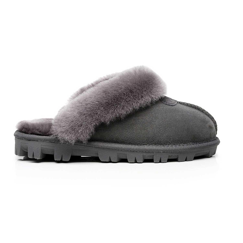 UGG-Mubo-Home-Slippers-Scuffs-Premium-Australian-Sheepskin-Lining-Insole-Grey