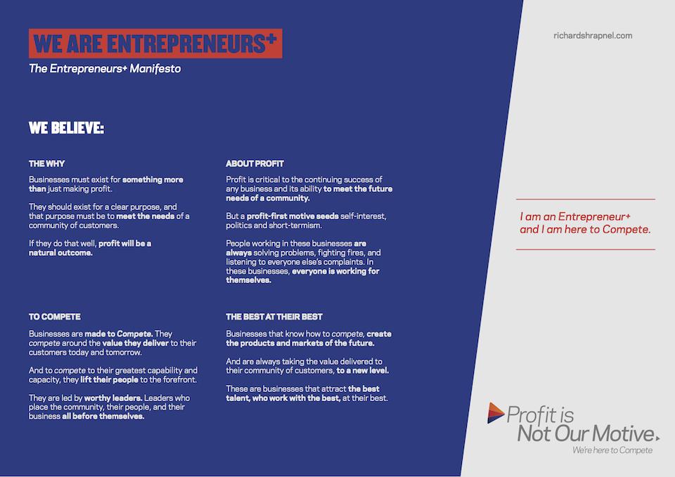 Richard Shrapnel's 'Entrepreneurs+ Manifesto'