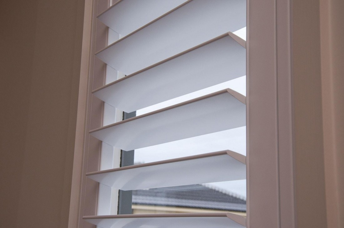 Window Louvers of a Plantation Shutter - Close Up