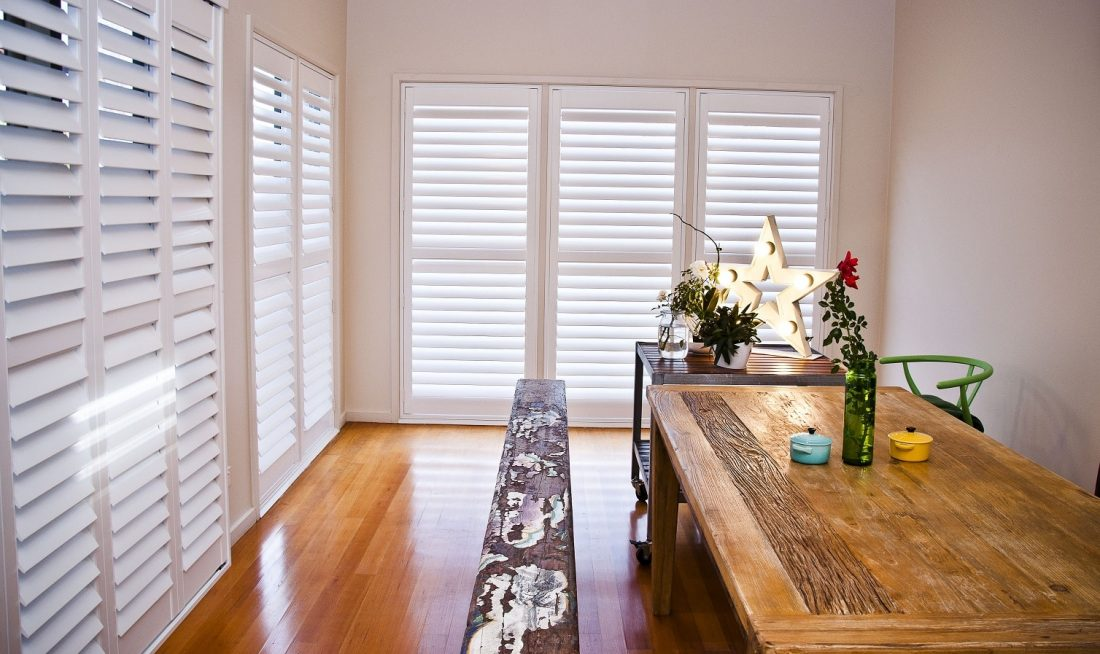 Plantation Shutters installed in Dining Area Semi-Closed for Reduced Light 2