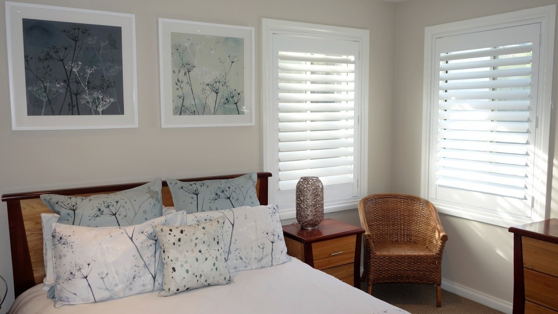 Plantation Shutters installed in Bedroom Corner Windows