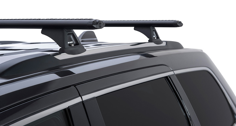 jeep grand cherokee wk2 4dr 4wd with chrome roof rails 02 11on rhino vortex black roof racks pr. Black Bedroom Furniture Sets. Home Design Ideas