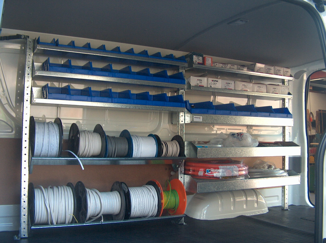 Electricians Shelving Kit Hiace 2 Bays X 1030mm Roof