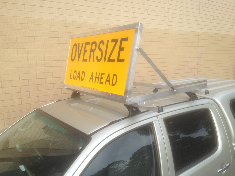 Wide Load Sign Lifting Alloy Frame 1200 X 600mm Roof