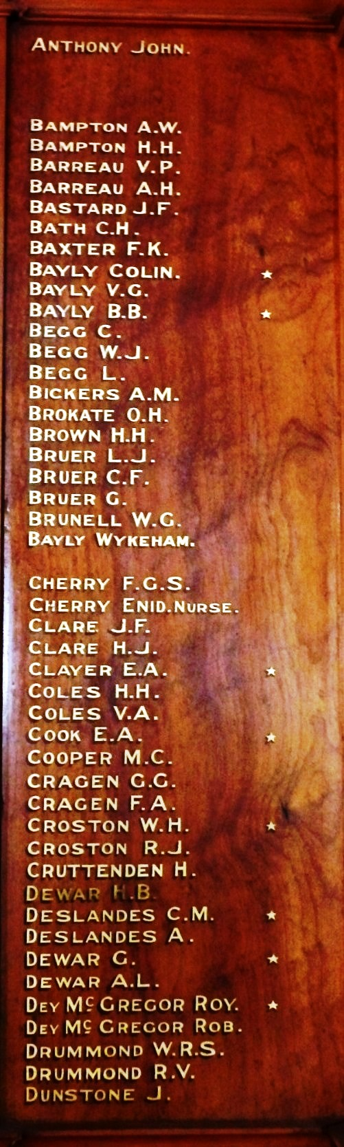 The Bayly brothers (Colin and B.B [Brian])  are listed on this Semaphore Church memorial:  both fell in France serving with British units. (Image by courtesy AMOSA)
