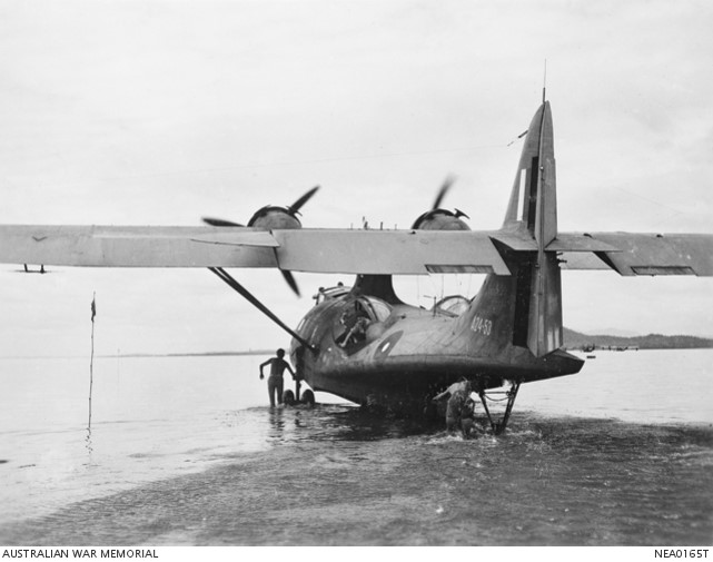 A Catalina taxiing into the water