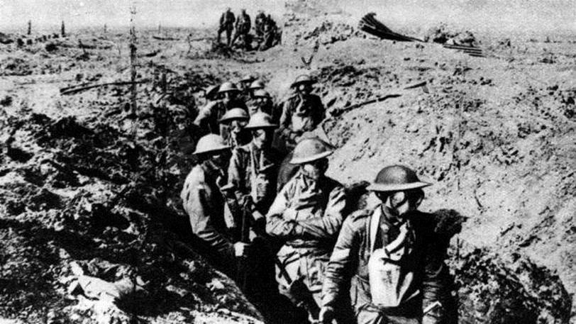 Australian soldiers wearing gas masks near Ypres