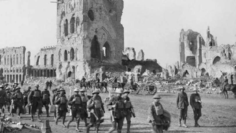 Troops passing the Cloth Hall at Ypres