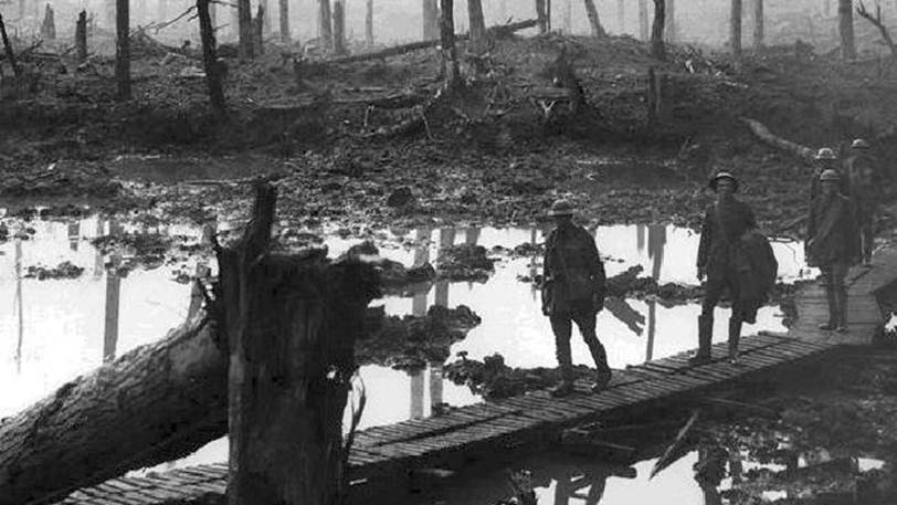 Australian soldiers on duckboards near Ypres