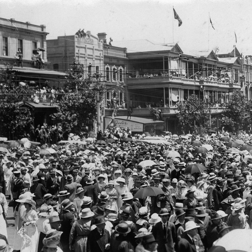 A crowd celebrates the Armistice: North Terrace, Adelaide, 12 November 1918. https://collections.slsa.sa.gov.au/resource/B+5511