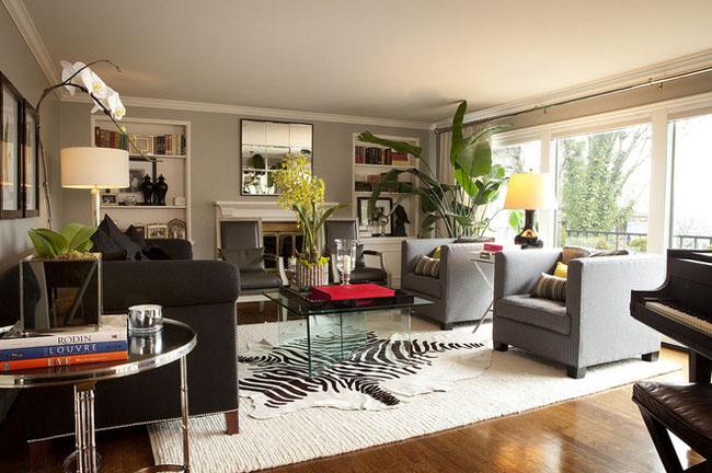 Add rugs over hardwood floors