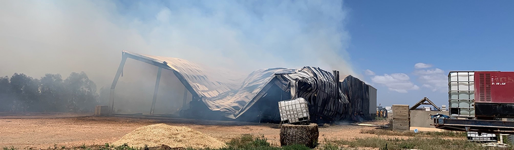 Hay shed fire
