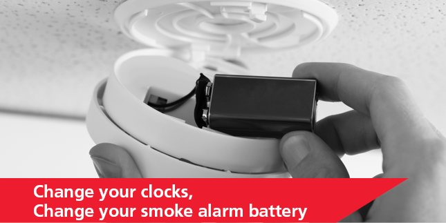 MFS Image - Monthly Fire Safety Tip Change your clocks change your smoke alarm battery