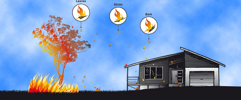 Embers are carried by winds ahead of the actual fire. Images courtesy Victorian Country Fire Authority