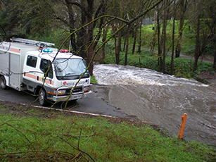 SES vehicle in attendance at a flood incident