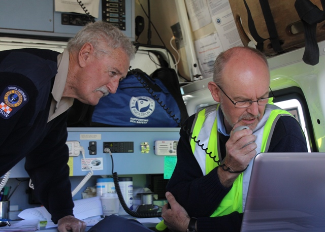 SES support volunteer providing the incident controller with live information from the field