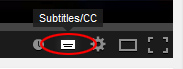 Toggle on and off subtitles in YouTube by clicking this button.